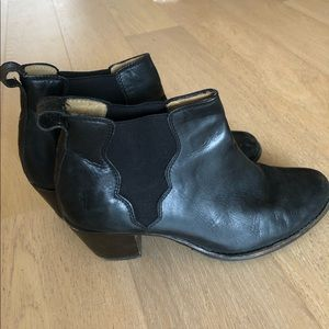 Frye black leather booties